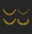 set wide golden laurel wreaths different vector image