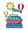 ship over sea cartoon vector image