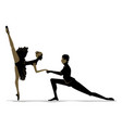 silhouette of duet young dancers vector image vector image