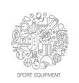 sport equipment in circle - concept line vector image vector image