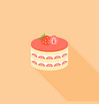 strawberry layer cheese cake in flat design vector image