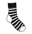 striped sock icon simple style vector image