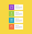 varied icons set isolated on yellow colorful card vector image vector image