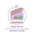 vegan dinner concept icon vegetarian lifestyle vector image vector image