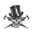 vintage gentleman skull in cylinder hat vector image vector image