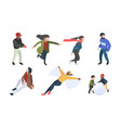 winter people isometric characters in vector image vector image