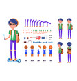 young teenager with hoverboard icons set vector image vector image