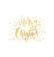 merry christmas golden text on white background vector image