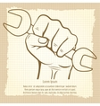 Working hand with wrench vintage poster vector image