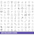 100 religion icons set outline style vector image vector image