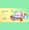 3d online education concept landing page template vector image vector image