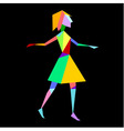 Abstract bright polygon girl on black background vector image