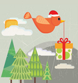 bird carrying gift box vector image