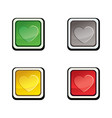 button set icon design elements with love heart vector image vector image