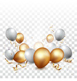 celebration banner with gold confetti and balloons vector image vector image