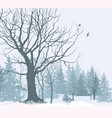 christmas snow landscape snowy forest winter vector image vector image