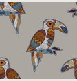 colorful pattern with birds seamless vector image vector image