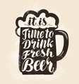 craft beer mug with foam lettering vintage vector image vector image