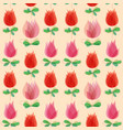 cute tulips seamless pattern red and pink flowers vector image