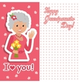Elderly woman with flowers vector image vector image