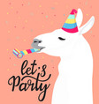 fanny llama in a striped hat with a whistle vector image
