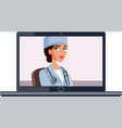 female doctor giving online consultation vector image