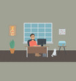 freelancer works in a home office vector image