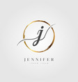 gold elegant initial letter type j vector image vector image
