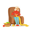 grandmother knitting scarf sitting in a chair vector image