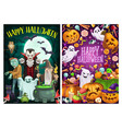 halloween party cartoon witches and dead monsters vector image vector image