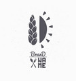 hand drawn silhouette of wheat and sun vector image vector image