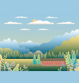 hills and mountains landscape with house farm vector image