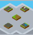 isometric road set of crossroad plash turning vector image vector image