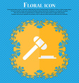 judge hammer icon Floral flat design on a blue vector image vector image