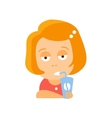 Little Red Head Girl In Red Dress Drinking Coffee vector image vector image