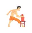 Man Breaking Bricks With Hand Judo Martial Arts vector image vector image