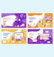 marketing promotion and seo optimization web set vector image vector image