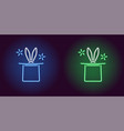 neon icon of blue and green magic hat vector image