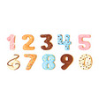 numbers cartoon color set from sweet decorated vector image