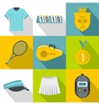 Play in tennis icons set flat style vector image vector image