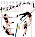 Pole vault athletes set vector image