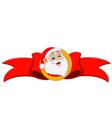 santa head and red ribbon vector image
