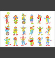 set of colorful friendly clowns in classic outfits vector image vector image