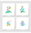 set of four marker hand drawing sketch doodle vector image vector image