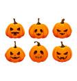 set of halloween pumpkin icons fantasy characters vector image