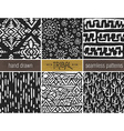 Set of six hand drawn tribal seamless black and vector image