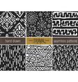 Set of six hand drawn tribal seamless black and vector image vector image