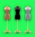 set of three mannequins fashion of different vector image