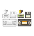 set retro technology object vintage black vector image