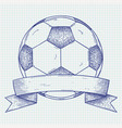 soccer ball with banner hand drawn sketch vector image vector image